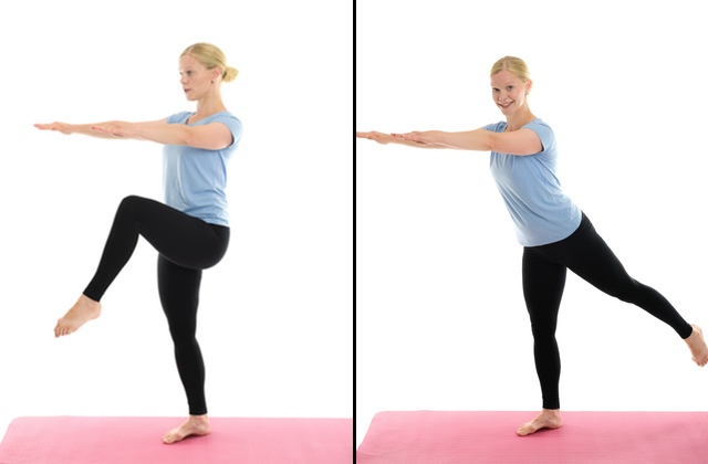 lyft knät och håll balansen